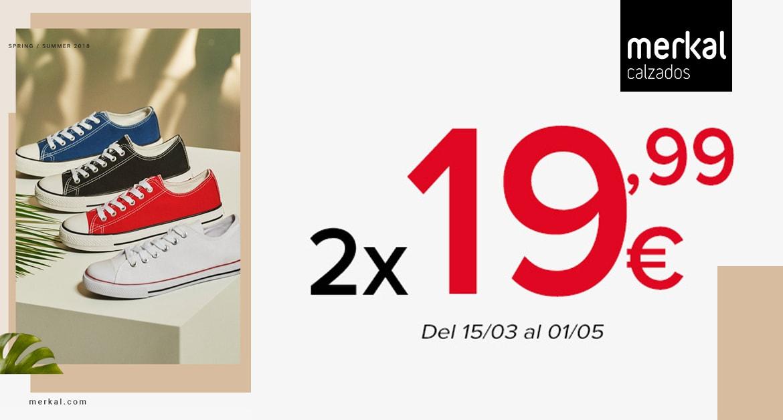 Las zapatillas que no pasan de moda, al mejor precio en Merkal! 2 x 19,99€. Elige los colores que más te gusten y combínalas a tu gusto. Tallas y modelos disponibles para mujer, caballero y niños