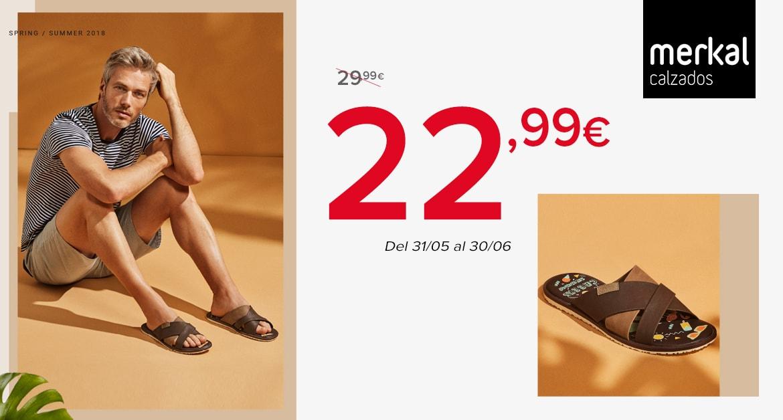 """Di """"hola"""" al verano! Sandalia casual de hombre, con tiras entrecruzadas y una planta serigrafiada ideal para un look urbano y casual. Disponible en marrón y azul marino por solo 22,99€"""